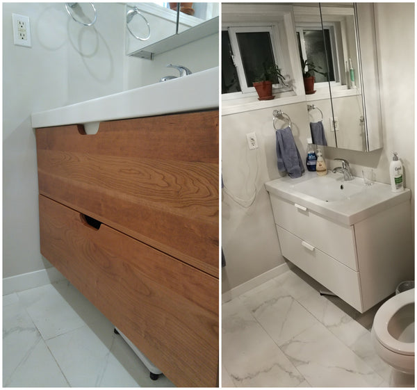 "Sleek, Stylish & Warm - The master bathroom vanity was transformed by switching white IKEA drawer panels  with Inde-Art custom build solid wood fronts.  39 3/16"" x 11 1/8"" x ¾"" Panels"