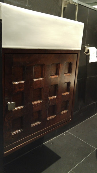 "Custom build vanity cabinet with one of a kind rose wood door panel. - 19"" x 9"" x 17.5"" (ht)"