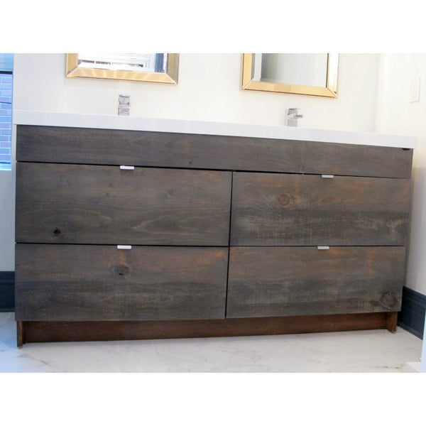 "Custom designed  63""  bottom mounted four drawer vanity cabinet  with solid wood rustic drawer fronts."