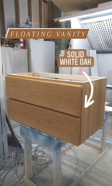 "38"" wide wall​ mounting floating vanity built from solid white oak wood. ​ A​  ​modern ​clean​ &​​ ​streamlined look​ with two soft close drawers​ with handle​s​ integrated in drawer panels.​ Mirror Frame 3 ft x 2ft"