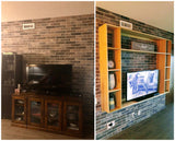 Before & After - Custom built  & designed TV unit made from poplar wood