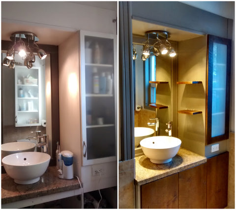 Sleek , stylish & warm - on a budget!! This master bathroom recreated with just switching the old doors with Inde-Art solid wood door fronts.