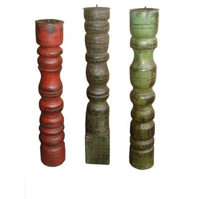 Solid wood hand crafted candle holders made from salvaged pieces of furniture in different shapes , sizes & colors.