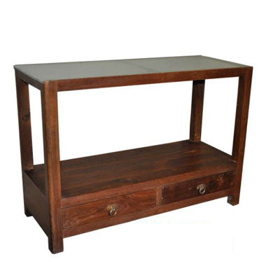 Solid Indian rose wood console table with two drawers and glass top.