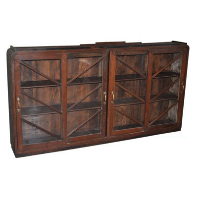 Vintage solid teak wood upper or wall cabinet or a narrow book shelf with sliding doors.