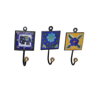 Single ceramic tile hook in assorted designs & colors.