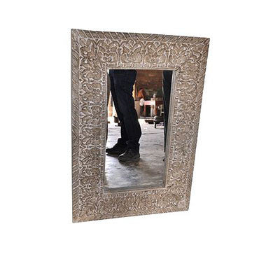 Hand carved & painted solid wood mirror frame