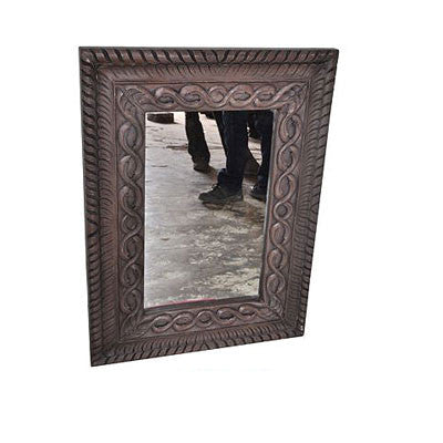 Hand carved solid wood mirror frame