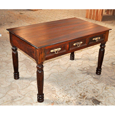 Solid Indian rose wood desk with three drawers.