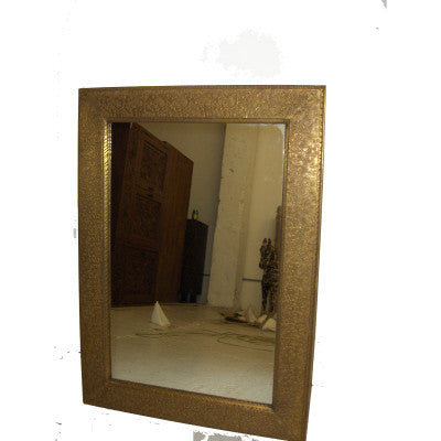 Solid wood mirror frame covered  embossed sheet metal.