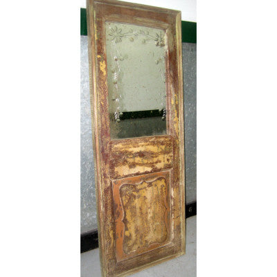 Assorted salvaged door panel retrofitted with mirror