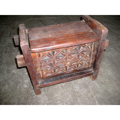 Solid wood  hand crafted & carved box with lid ,Traditional Indian or Rajasthani style home decor  & solid wood furniture.