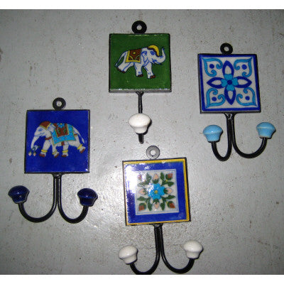 Ceramic tile hook in assorted designs & colors.