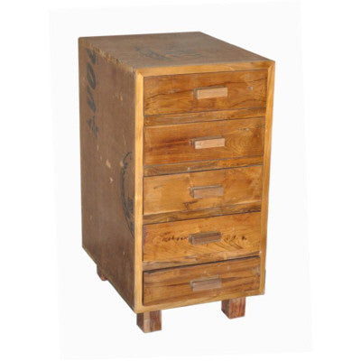 "18"" wide reclaimed teak wood 5 drawer kitchen base cabinet or a vanity cabinet."