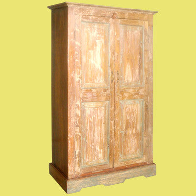Antique distressed narrow  teak cabinet.