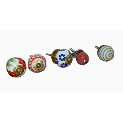 Ceramic cabinet knobs in different shapes, color & designs - Traditional Indian Or Rajasthani Style Home Decor