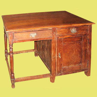 Solid teak wood antique desk with two drawers.