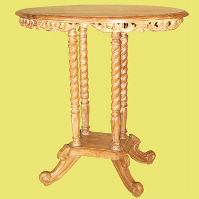 Oval shaped solid teak wood intricately hand carved end table.