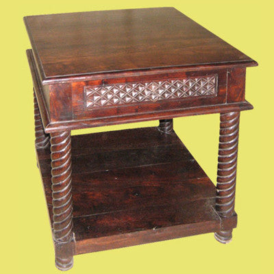 Beautifully hand carved solid Indian rose wood end table with one drawer and a shelving.