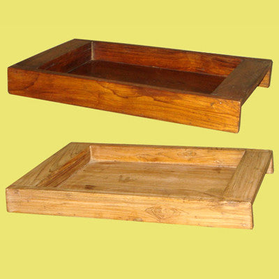 Handcrafted solid teak wood tray.