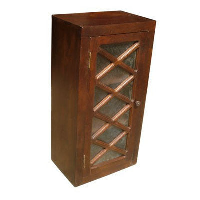 "18"" wide single door solid Indian rose wood upper or wall cabinet."