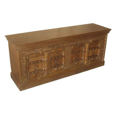 Solid wood TV stand or a cabinet with beautifully hand carved  doors and front.