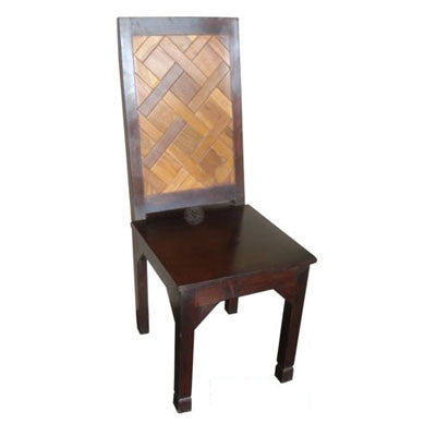 Solid wood dining chairs with teak wood inserts.