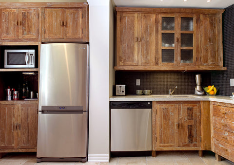 Inde-Art reclaimed wood custom built kitchen cabinets and cabinet door and drawer fronts.