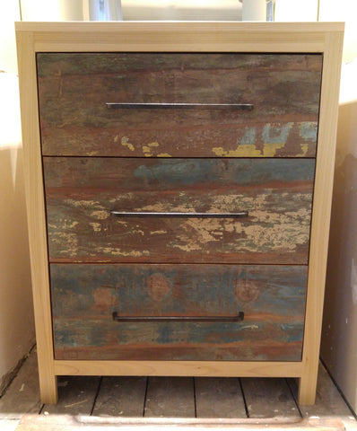 "Storage solutions to create both functional and beautiful pieces - Gorgeous custom designed solid wood dresser with a poplar wood frame in natural stain and under-mount soft close drawers with stunning reclaimed teak wood fronts & locally custom built handles...it doesn't get any better than this!!..  34"" Wide x 21"" Deep x 42"" ht"
