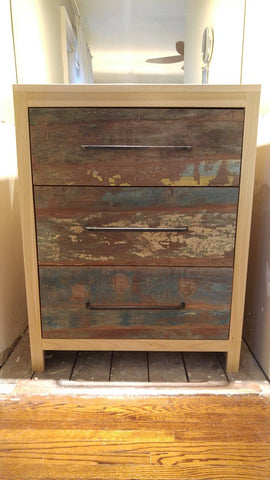 "Storage solutions to create both functional and beautiful piece -  A custom designed solid wood dresser  -with a poplar wood frame in natural stain and  - under-mount soft close drawers with stunning reclaimed teak wood fronts  -& custom built handles.  It doesn't get any better than this!!..  34"" Wide x 21"" Deep x 42"" ht"
