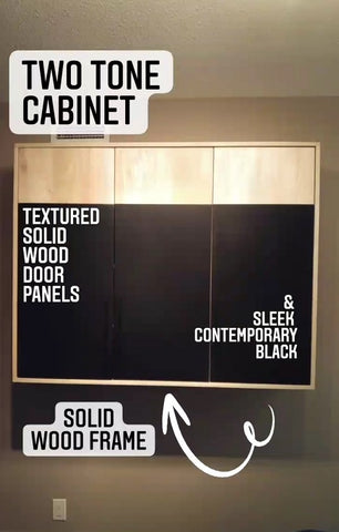 ​This is a perfect example of combining warm & rustic natural wood with slick  black  contemporary design. A beautiful mixture of  different textures i.e. two tone solid wood inset doors  & modern metal handles. The cabinet has the 3 adjustable shelves.