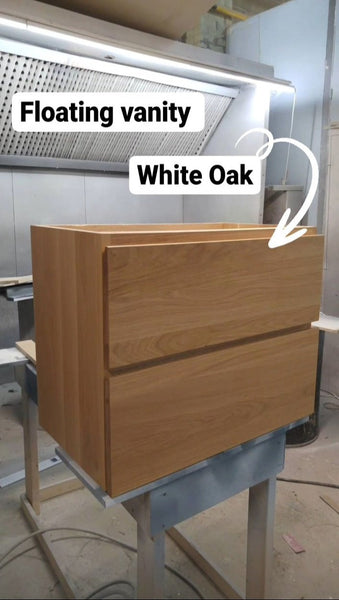 "30"" wide wall​ mounting floating vanity built from solid white oak wood. ​ A​  ​modern ​clean​ &​​ ​streamlined look​ with two soft close drawers​ with handle​s​ integrated in  ​drawer panels.​"