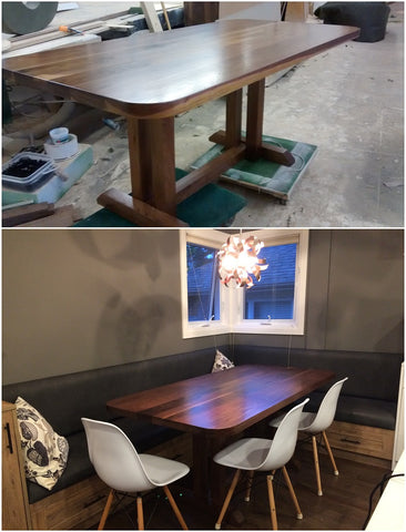 "A stunning solid walnut wood (6ft x 3ft) dining table with 2"" thick top and rounded edges"