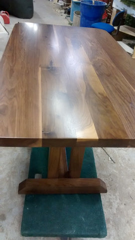 "A stunning custom build solid walnut (6ft x 3ft) dining table with 2"" thick top and rounded edges"