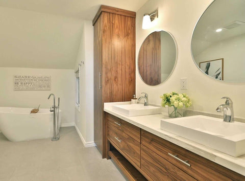 This gorgeous clean line custom designed & built  walnut bathroom vanity, so warm &  beautiful will inspire your mornings and add the perfect ending to your day.