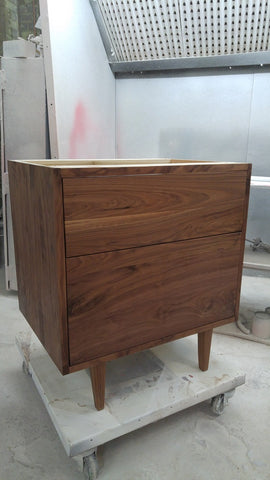 "Custom build MCM inspired 30"" solid walnut wood vanity​ cabinet​, featuring 2 ​soft close inset drawers ​and​ solid wood tapered legs. ​ ​Gold handles add timeless touch to the cabinet, an elegant addition to any bathroom, beautiful walnut wood makes ​​bathroom ​luxurious​ and stunning."