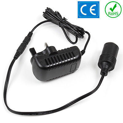 Car Cigarette Lighter Power Adapter 12V DC 240V 24W 2A Mains Voltage Converter