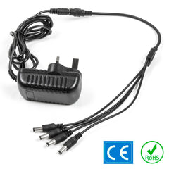 4 Way Daisy Splitter CCTV Power Supply PSU Adapter UK 12V DC 2A 5.5mm x 2.1mm