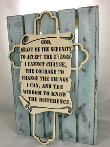 "18"" Tall Serenity Prayer Cross"