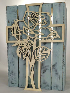 "18"" Tall Rose Cross"