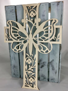 "18"" Tall Butterfly Cross"