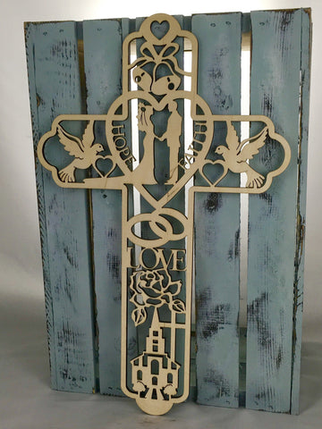 "18"" Tall Wedding Cross"