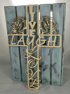 "18"" Tall LIVE LAUGH LOVE Cross"