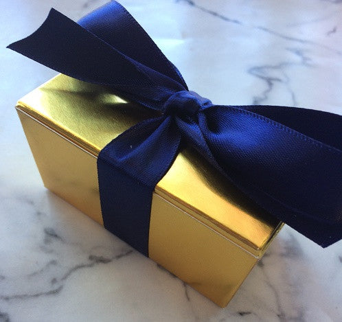 Elegant gold favor box with navy ribbon, other colors available