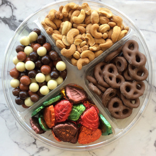 Fall Instant Party Tray with pretzels, solid chocolate leaves and fall caramels