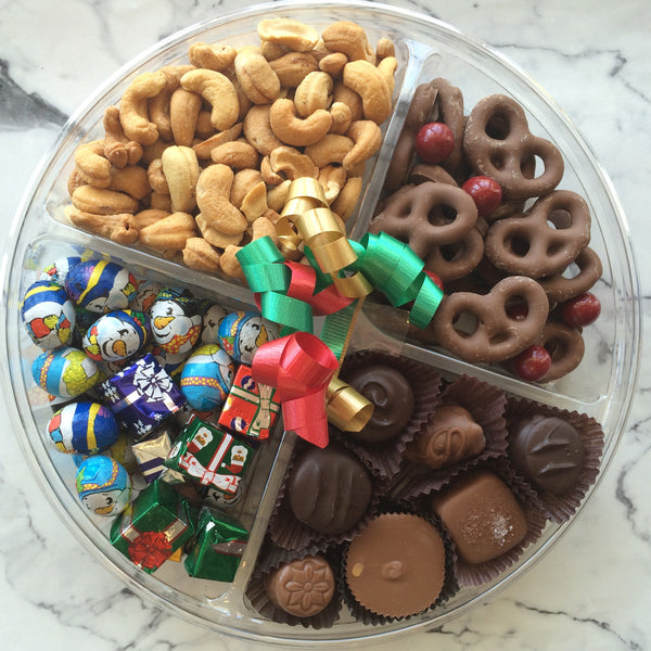 Shipable chocolate and nut tray