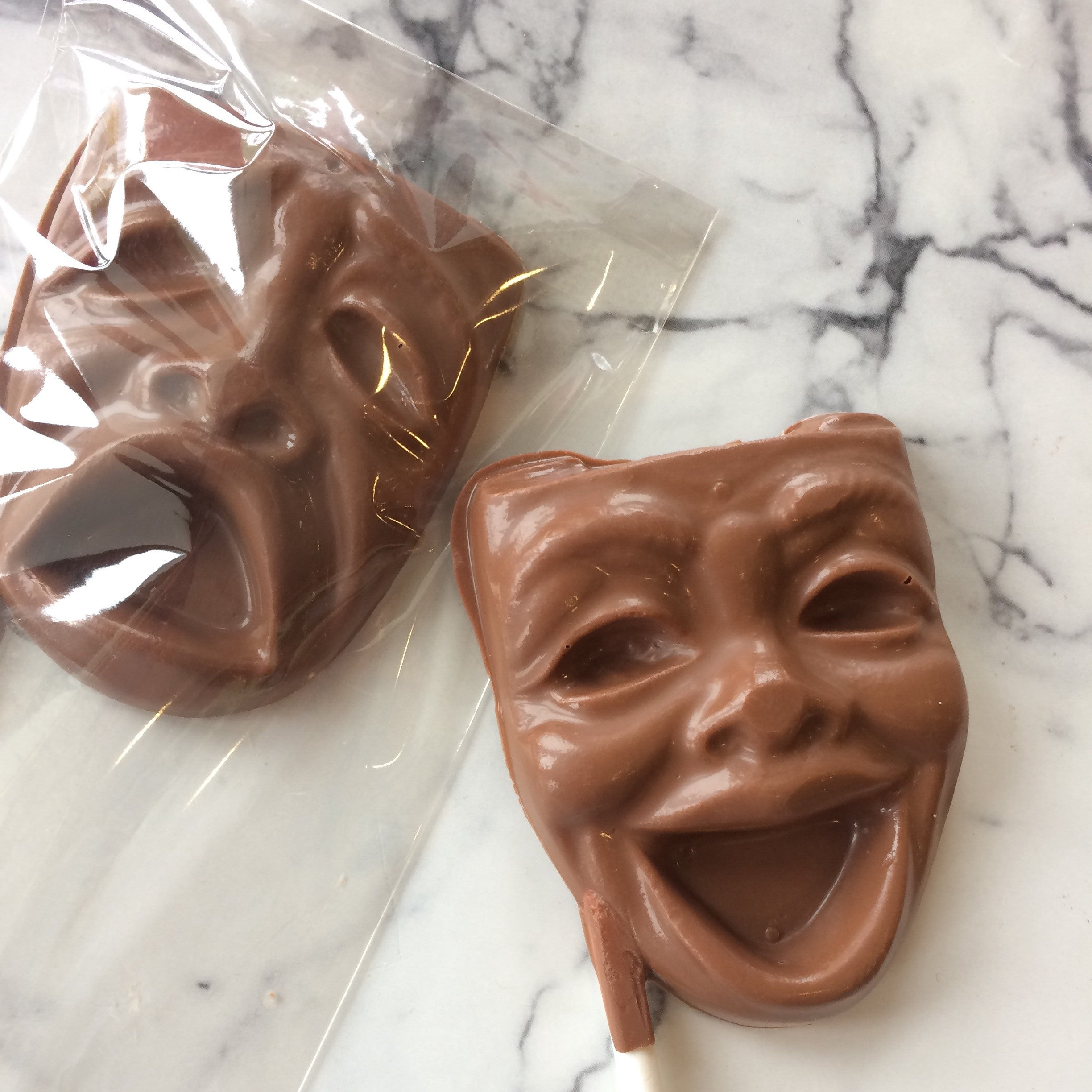 Chocolate drama masks comedy and tragedy