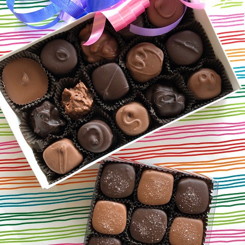 Two boxes of popular chocolates- Assorted chocolates and seasalt caramels
