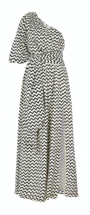 NAVY BLACK ZIG ZAG MAXI DRESS