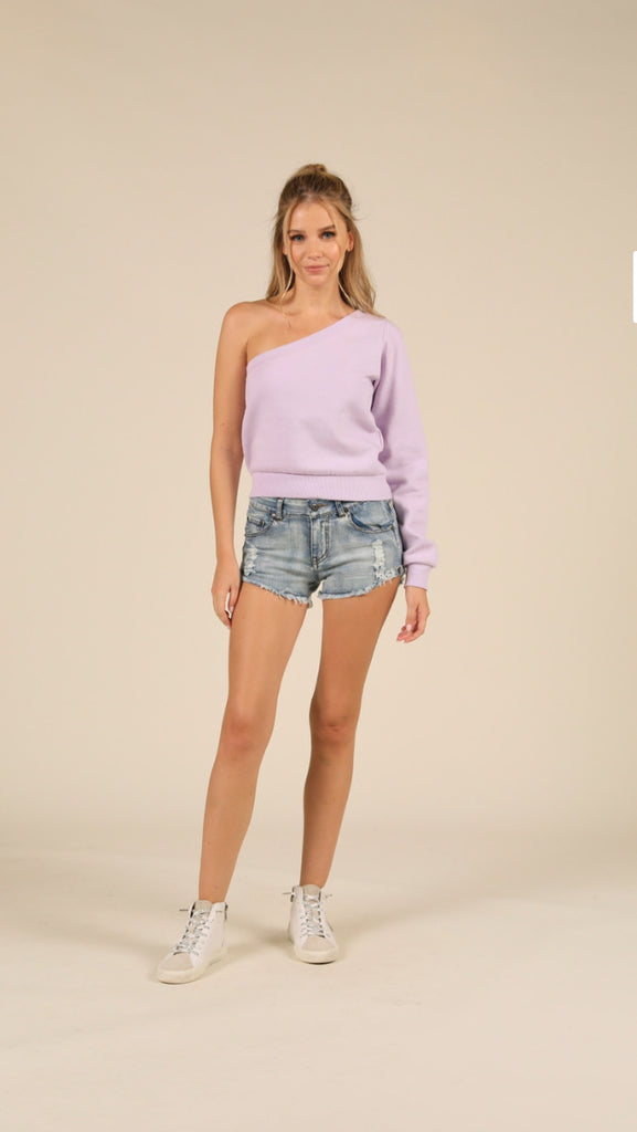 Ocean Drive Laguna Lilac Beach Fleece One Shoulder Top